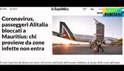 Власти Маврикия заблокировали высадку части пассажиров с рейса Alitalia