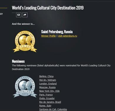 Про С-Петербург на World Travel Awards 2019 тоже не забыли
